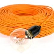 strijkijzersnoer oranje met kooldraadlamp en fitting